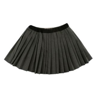 Bonpoint Grey Wool Blend Pleated Skirt