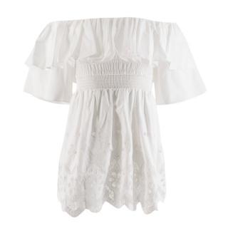 Self Portrait White Ruffle Off Shoulder Embroidered Mini Dress