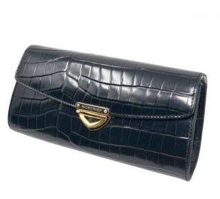 Moncrief Black Crocodile Leather Clutch