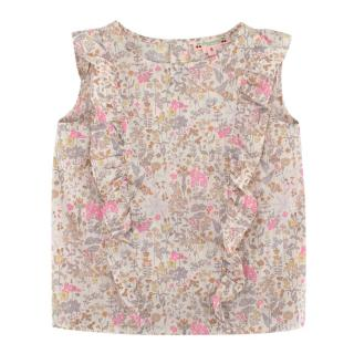 Bonpoint Beige & Pink Floral Cotton Ruffled Top
