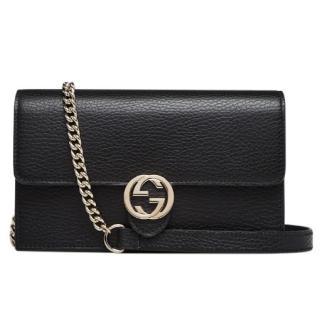 Gucci Black Leather Interlocking G Chain Wallet