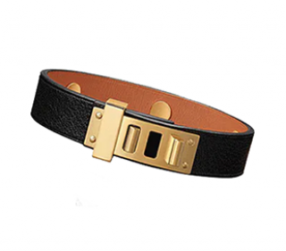 Hermes Black Swift Leather Mini Dog Bracelet