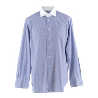 Emanuele Maffeis Blue Cotton Long Sleeve Tailored Shirt