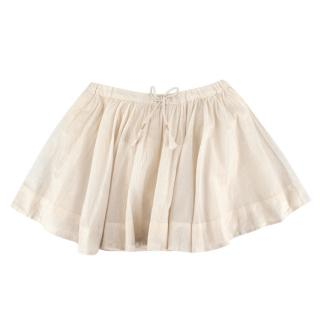 Bonpoint Ivory Cotton Gold & Silver Striped Skirt