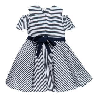 Jo Milano 2Y Striped Cotton Ribbon Tie Cold Shoulder Dress
