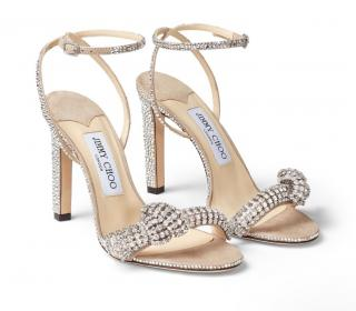 Jimmy Choo Crystal Embellished Thyra 100 Suede Sandals