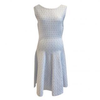 Milly Sleeveless Blue & White A-Line Dress