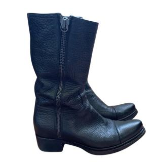 Miu Miu Black Grained Leather Biker Boots