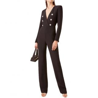 Balmain V-Neck Flared Crepe Jumpsuit