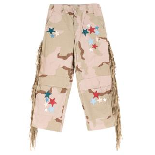 That's It! Folks Green Camo Cotton Blend Star Patches & Fringe