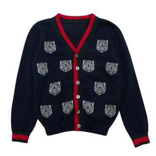Gucci Navy Tiger Print Wool Knit Cardigan
