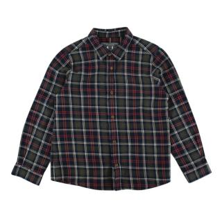 Bonpoint Green Checkered Cotton Flannel Long Sleeve Shirt
