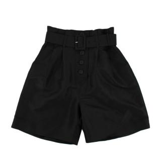 Self Portrait Black Taffeta Belted Shorts