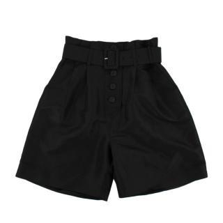 Self Portrait Black Taffeta Belted Shorts