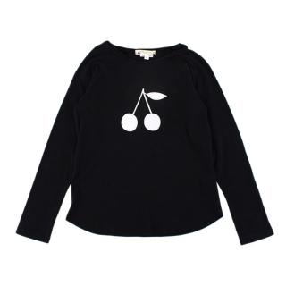 Bonpoint Black Cherry Logo Cotton Sweater