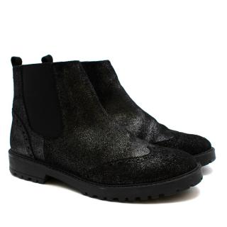 Bonpoint Black Suede Glitter Chelsea Ankle Boots