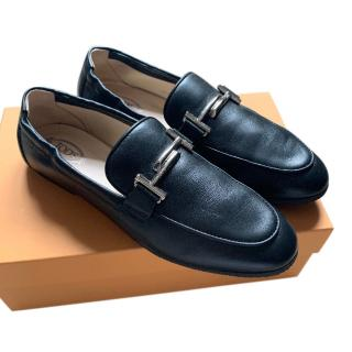Tod's Black Grained Leather Loafers