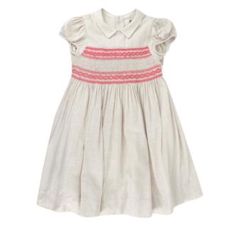 Bonpoint Beige Cotton Flannel Hand Embroidered Smocking Dress
