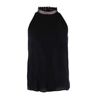 Stella McCartney Black Silk Sleeveless Top with Sheer High Neck