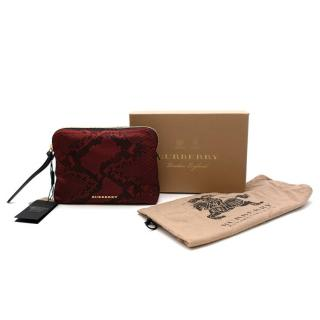 Burberry Red Snake Print Canvas Travel Pouch