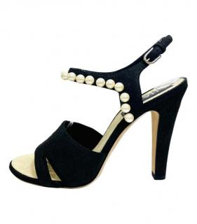 Chanel Black Suede Pearl Trim Suede Sandals