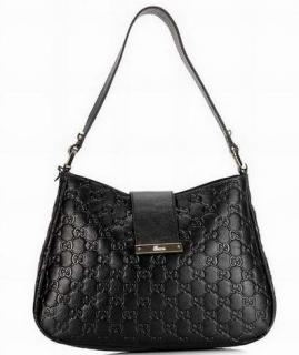 Gucci Black Monogram Supreme Hobo Bag