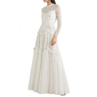 Needle & Thread Ivory Mesh Sequin Embellished Bridal Gown