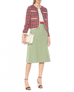 Gucci Green GG Diagonal Striped Wool Knit Skirt