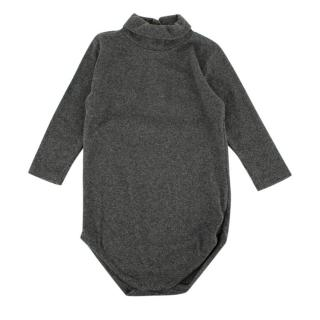 Bonpoint Grey Cotton Roll Neck Babygrow