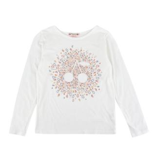 Bonpoint White Cherry Paisley Print Long Sleeved Top