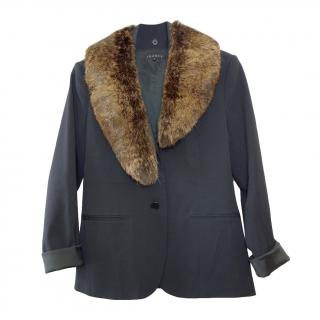 Theory Black Tailored Jacket with Rabbit Fur Removable Collar