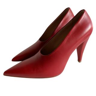 Max Mara Red Leather Pumps