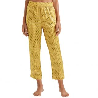 Asceno  Yellow Printed silk-satin pajama pants
