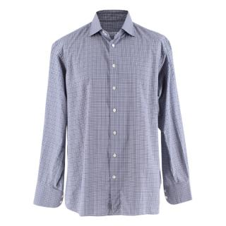 Emanuele Maffeis White & Navy Check Pattern Shirt
