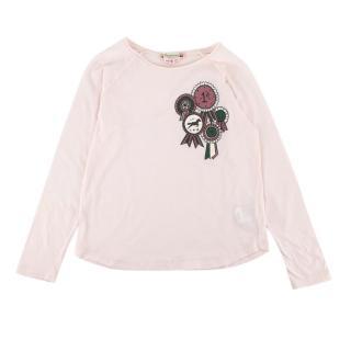 Bonpoint Pink Cotton Equestrian Print Blush Top