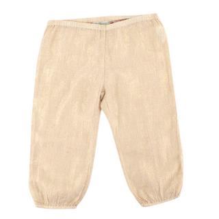 Bonpoint Gold Lurex Cotton Trousers