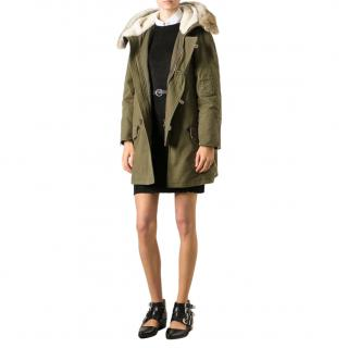 Saint Laurent Green Cotton & Linen Fur Trimmed Hooded Jacket