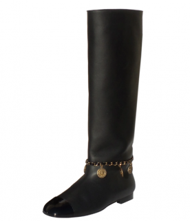 Chanel Black Smooth & Patent Leather Boots with Charm Chain Detail