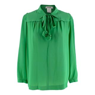 Sonia By Sonia Rykiel Green Pussybow Blouse