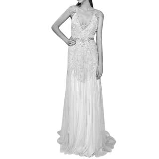 Jenny Packham Floral Sequin Applique Bridal Gown