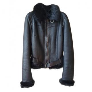 Prada Black Leather Shearling Lined Biker Jacket