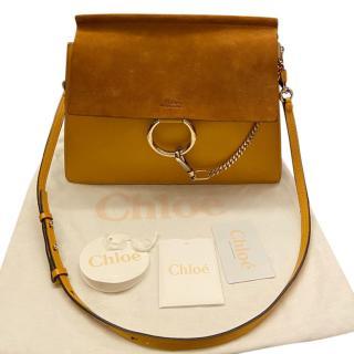 Chloe Yellow Leather & Suede Faye Shoulder Bag