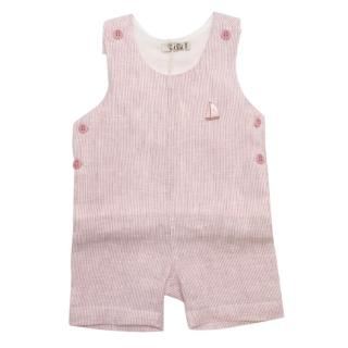 Mimu Rose Recycled Linen Embroidered Striped Dungarees