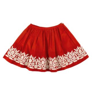 Bonpoint Red & White Floral Embroidered Skirt