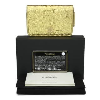 Chanel Gold Croc Embossed Leather Zip Around Wallet