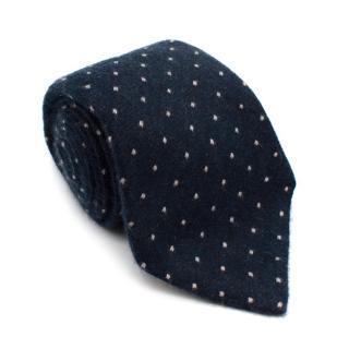 Angelo Fusco Navy Cashmere Handmade Tie