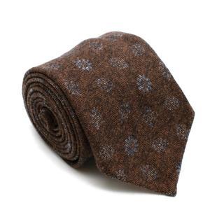 Doriani Brown Pattern Wool Twill Tie