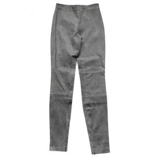 Theory Grey Stretch Suede Grey Leggings