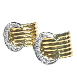 Bespoke Yellow & White Gold Diamond Set Curved Earrings
