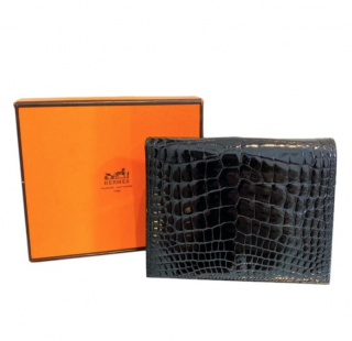 Hermes Lisse Alligator Mississippiensis Bi-Fold Black Wallet